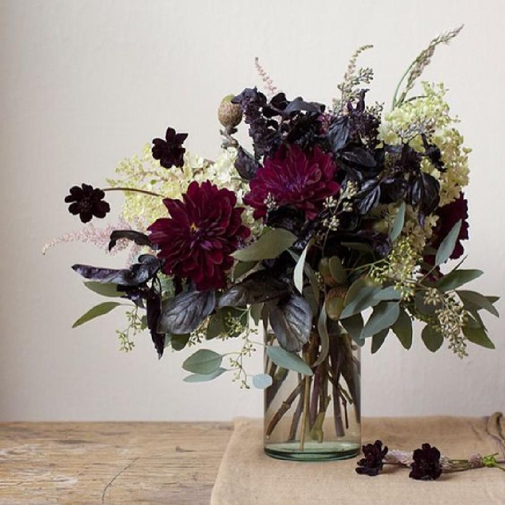 Gorgeous fall floral arrangement in vase - Come explore Dark Green Paint, Autumnal Greens & Interior Design Inspiration!