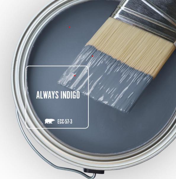 Always Indigo (Behr) blue paint color swatch. #bluepaintcolors #alwaysindigo #behralwaysindigo