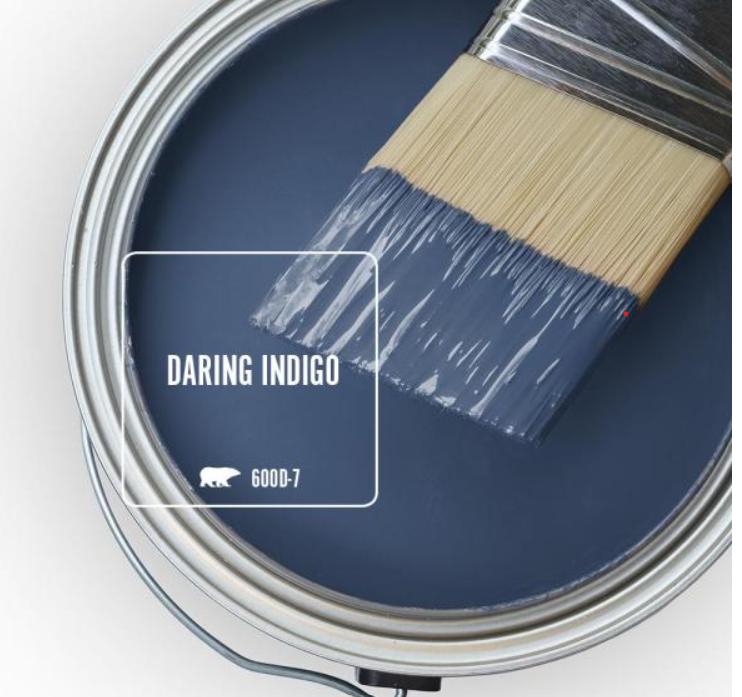 Behr Daring Indigo blue paint color swatch. #daringindigo #bluepaintcolors