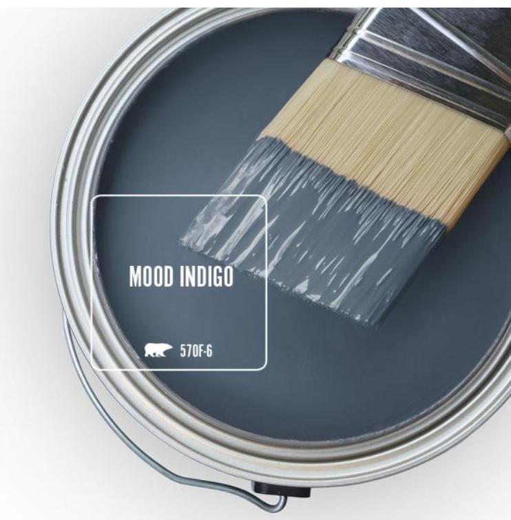 Mood Indigo (Behr) blue paint color. #moodindigo #bluepaintcolors