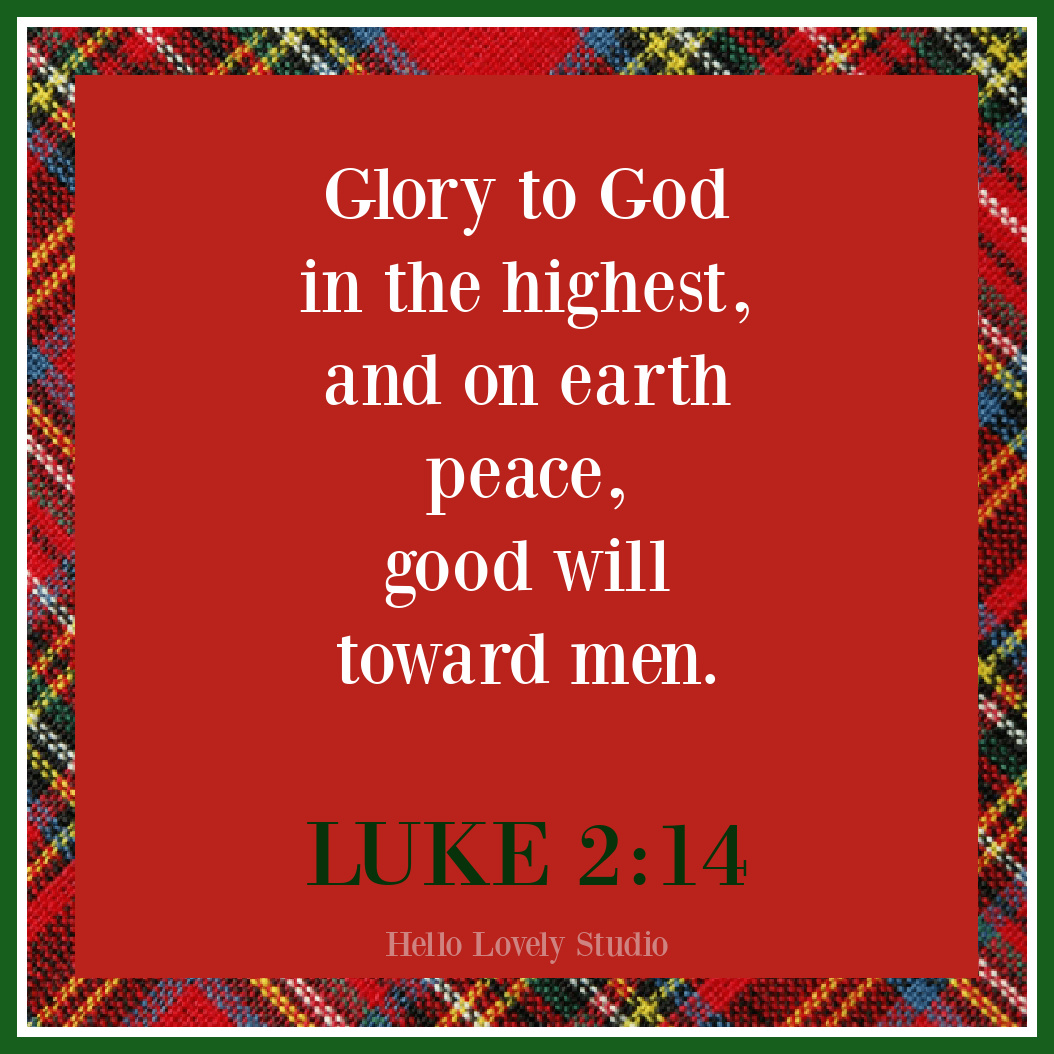 Luke 2:14 Christmas quote on Hello Lovely Studio. #christmasscripture #christmasquotes #christianity