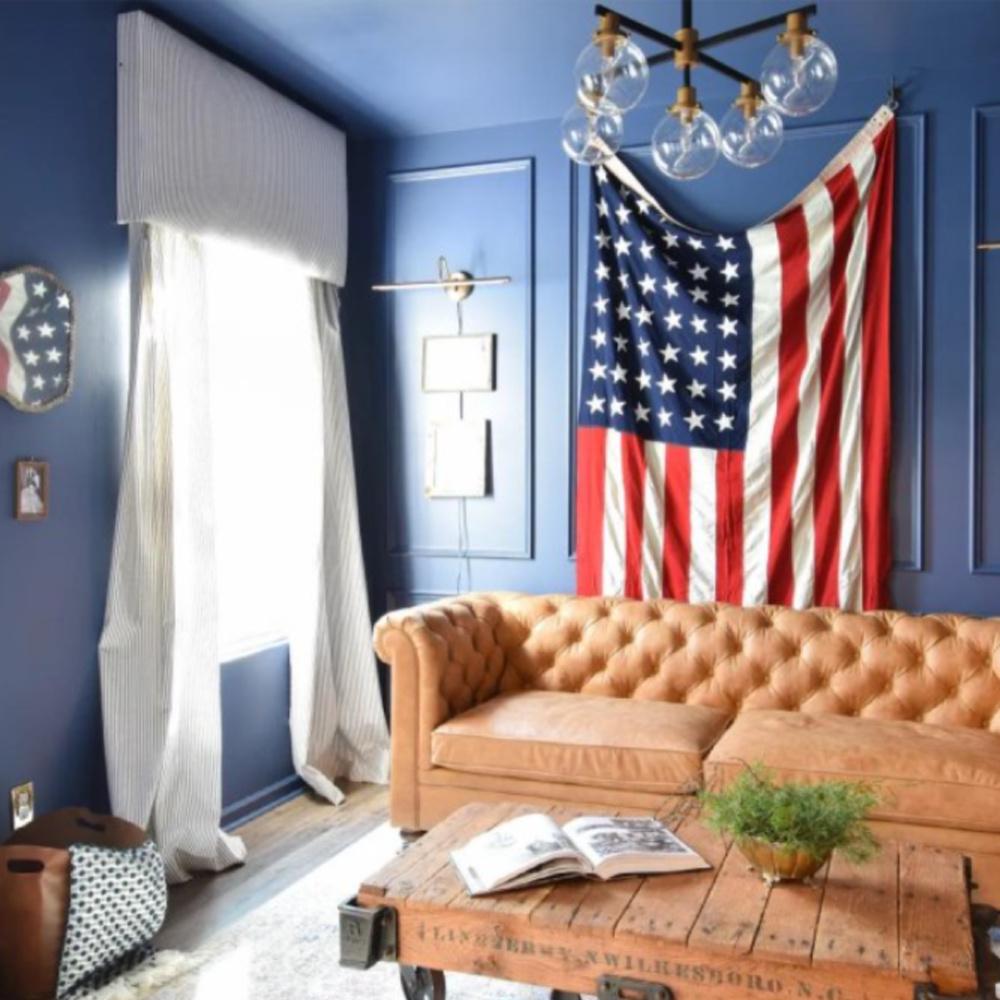Indigo Batik (Sherwin-Williams) blue paint walls in den. #indigobatik #sherwinwilliamsindigobatik #paintcolors