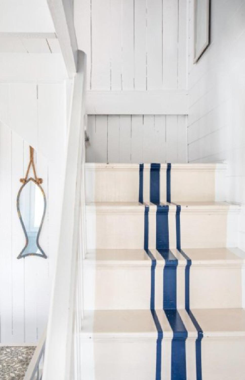 Indigo Batik (Sherwin-Williams) blue stripe painted staircase. #indigobatik #paintcolors