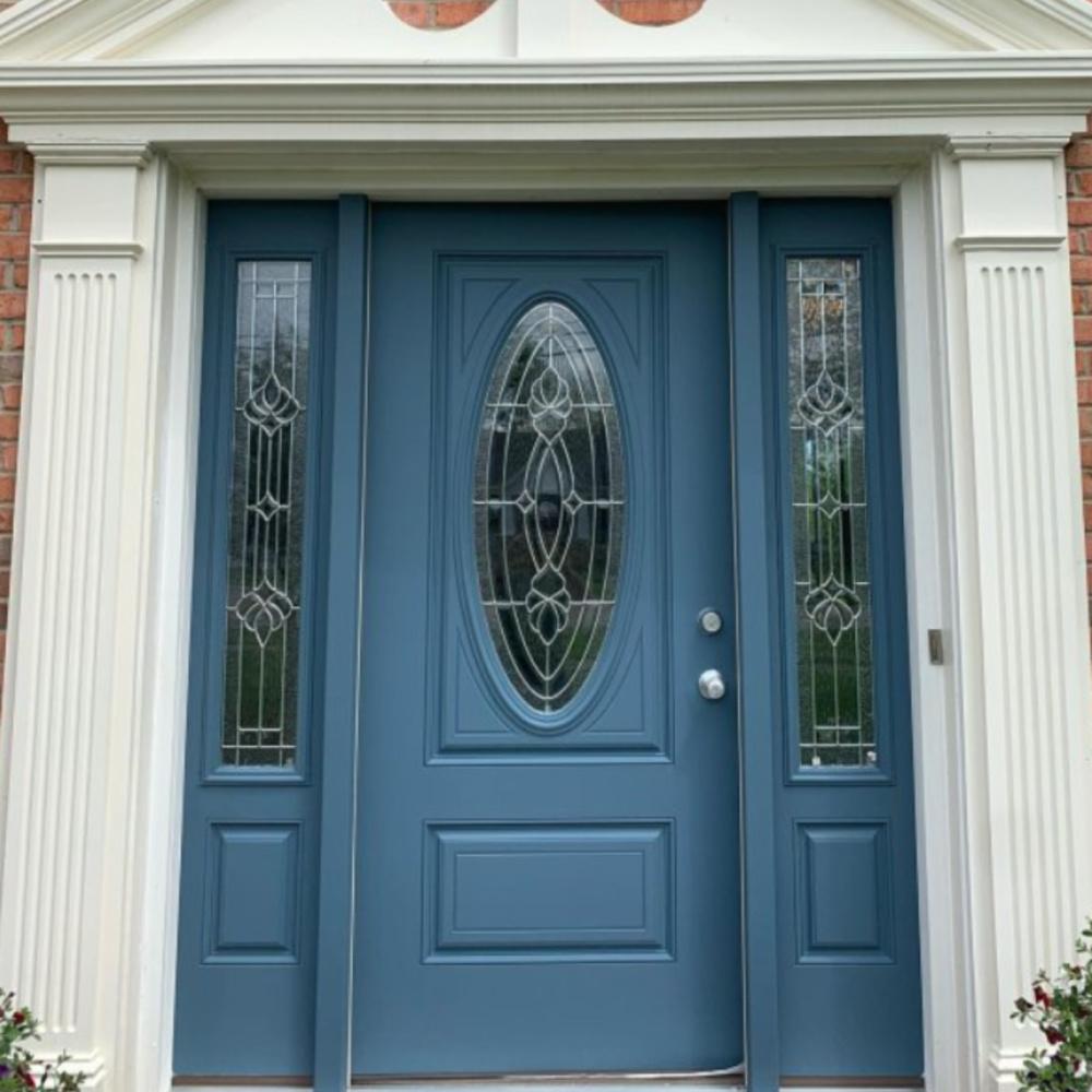 Waterloo (Sherwin-Williams) blue painted front door - @vs_painters_cincy. #waterloo #bluepaintcolors