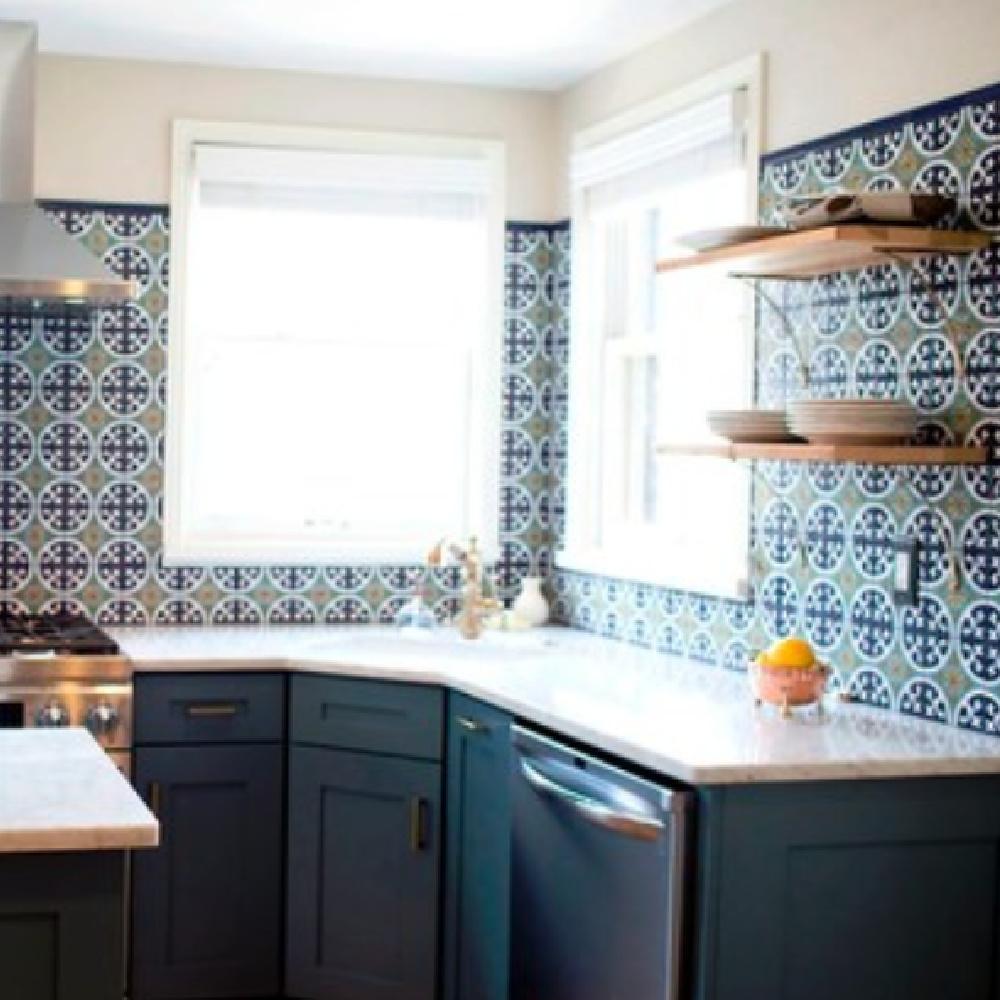 Waterloo (SW) blue painted kitchen cabinets - @bethsimmonsinteriordesign. #waterloo #bluepaintcolors