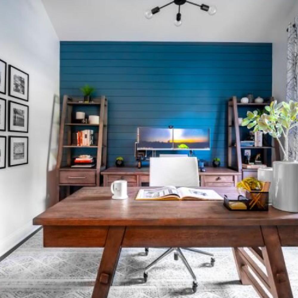 Blue painted shiplap in a home office (SW Waterloo). #waterloo #bluepaintcolors