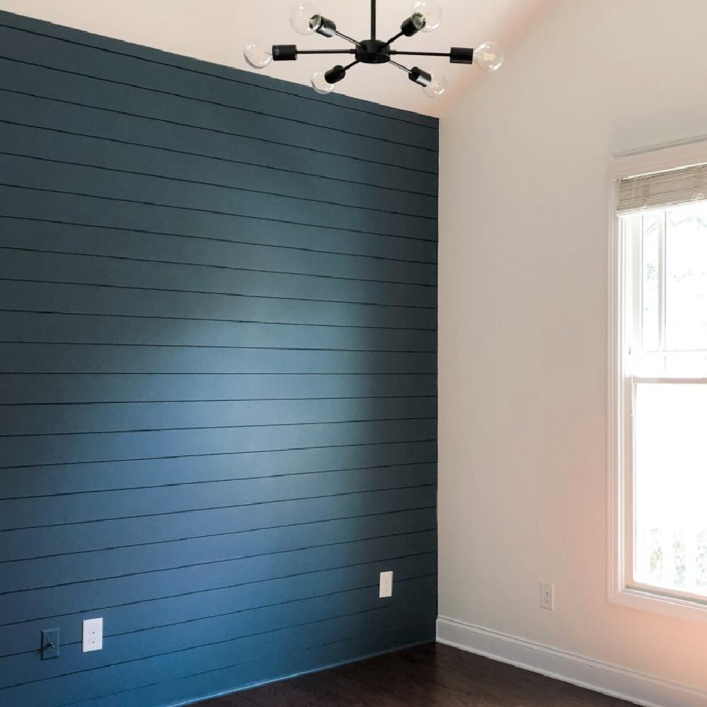 Blue shiplap painted SW Wataerloo - @acquireanddesign. #waterloo #bluepaintcolors #shiplap