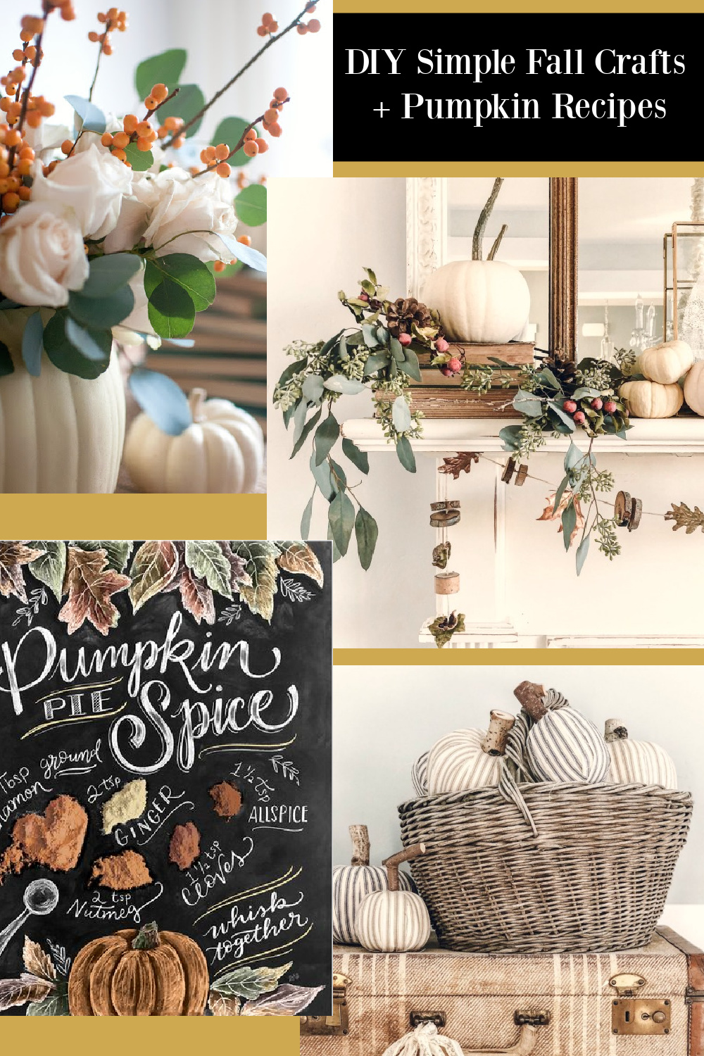 DIY Simple Fall Crafts + Pumpkin Recipes - Hello Lovely Studio. #fallcrafts #falldiy #falldecor #countrydecor #farmhousedecor #pumpkincrafts