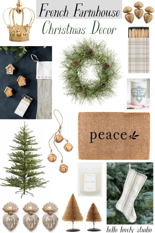 French Farmhouse Christmas Decor Hello Lovely Studio. #frenchfarmhouse #frenchchristmas #christmasdecor #holidaydecor #christmasdecorating #frenchcountry