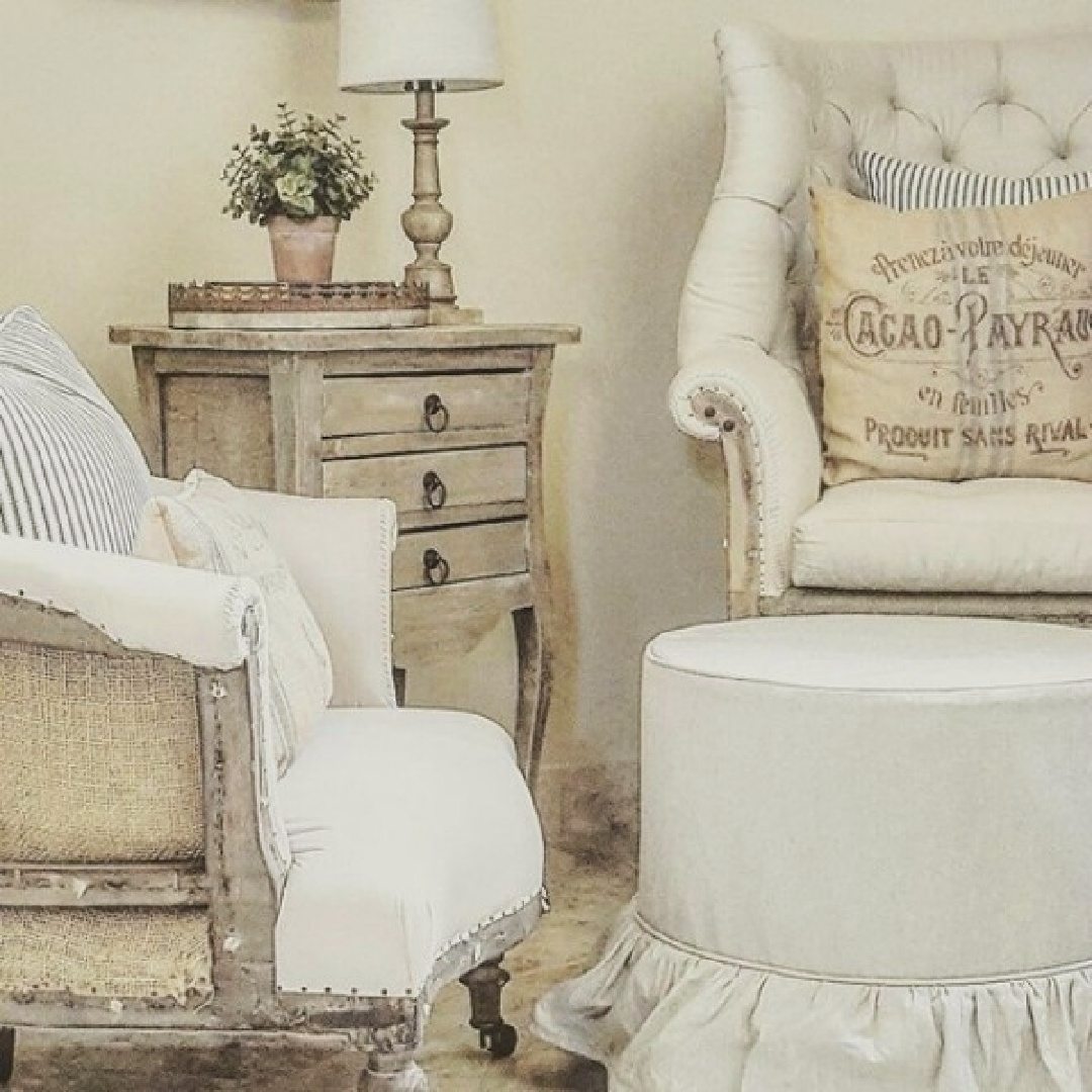 Deconstructed chair in French country living room by The French Nest Co Interior Design. #frenchcountry #livingrooms