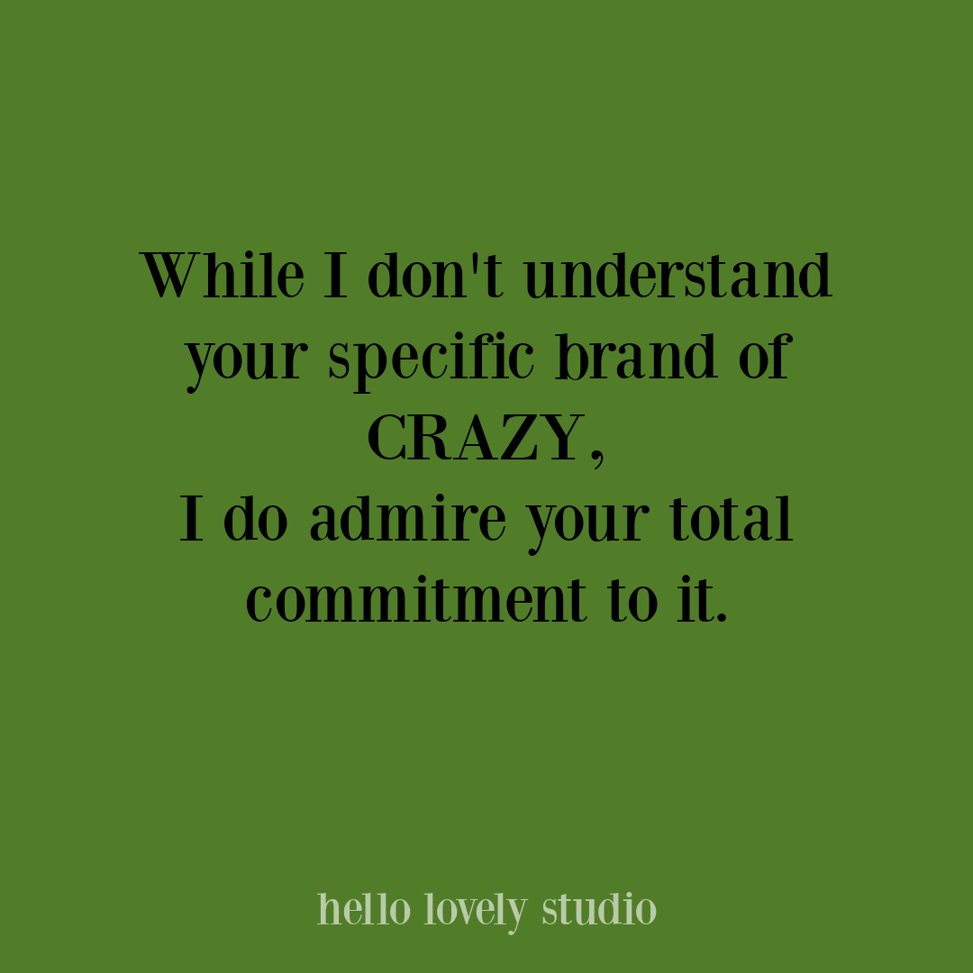 Funny humor quote about crazy on Hello Lovely Studio, #funnyquotes #whimsicalquotes