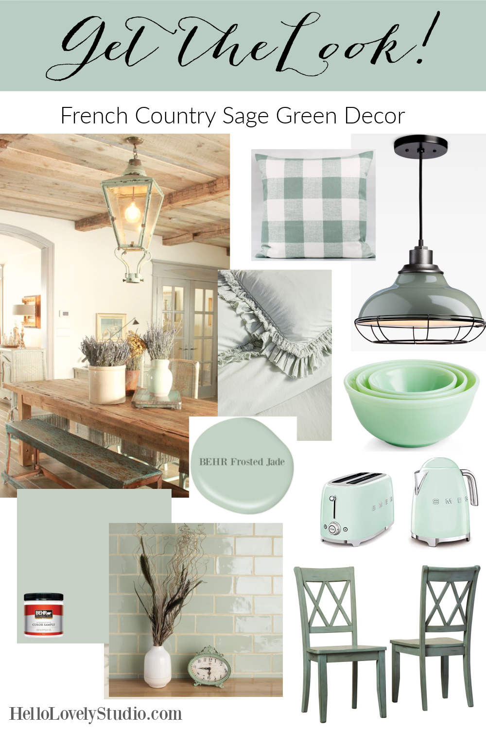 Get the Look: French Country Sage Green Decor on Hello Lovely Studio. #frenchcountry #interiordesign #homedecor #sagegreen #greendecor