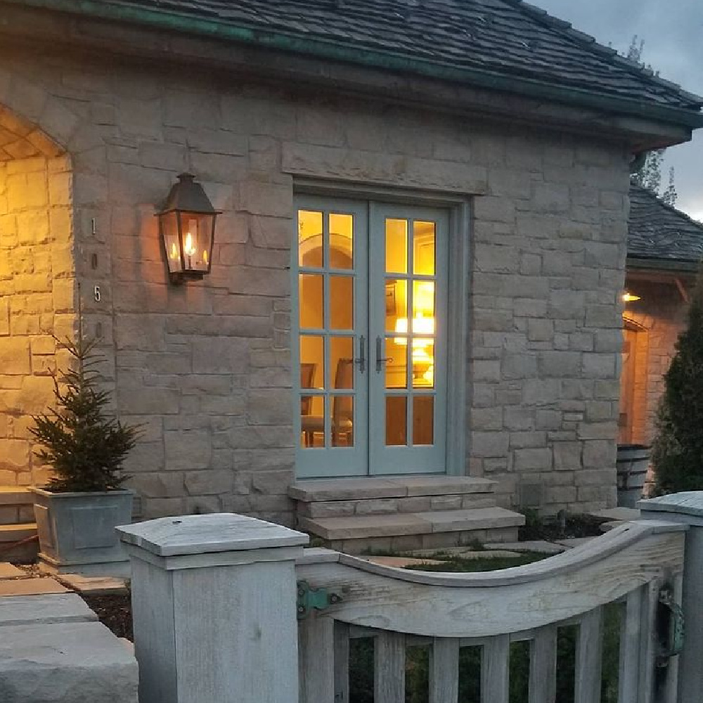 French country stone cottage exterior - Desiree Ashworth.