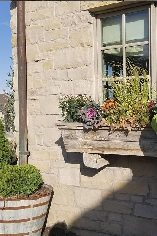 Beautiful fall window box - on a stone cottage - Desiree Ashworth.
