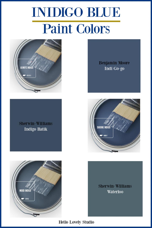 Indigo Blue Paint Colors - Hello Lovely Studio. #bestbluepaintcolors #indigoblue #paintcolors