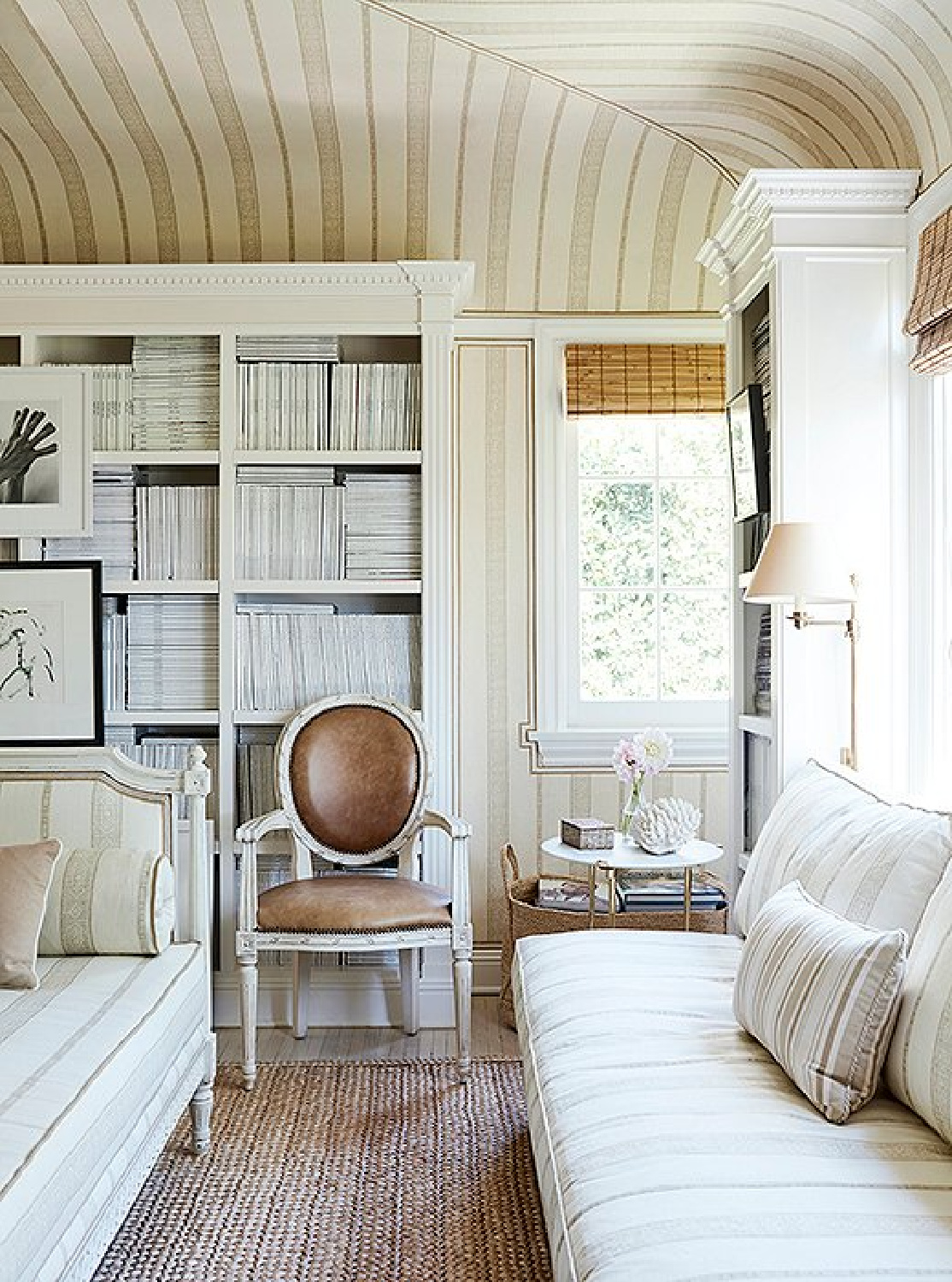 Beautiful study with bookcases of magazines collected by Mark Sikes. #study #interiordesign #neutralinteriors