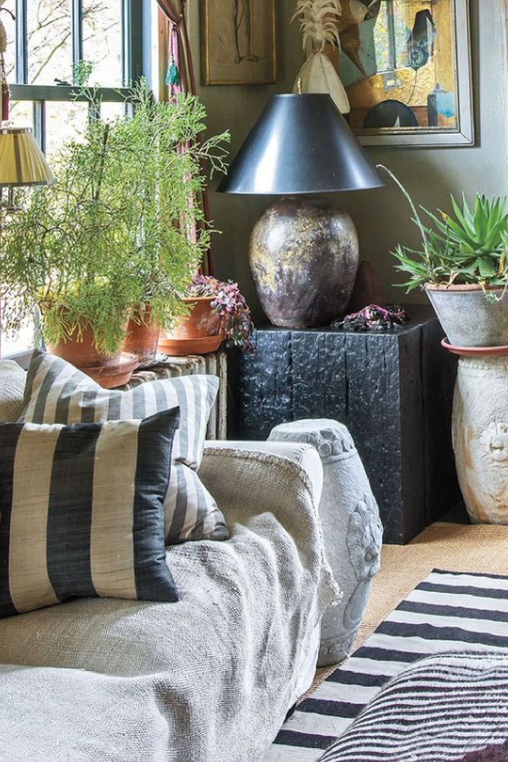 Milieu magazine Fall 2021 featured cozy rustic luxe living room - Interior Design @michaeltrappinc Photography @kindraclineffphotography