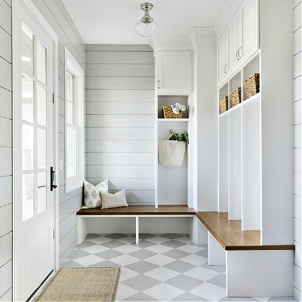 Serene and beautiful mud room with light grey and white check floor, shiplap, and custom built-ins with design by Bria Hammel. Come enjoy Traditional Laundry Room and Mud Room Design Ideas, Resources, and Humor Quotes!