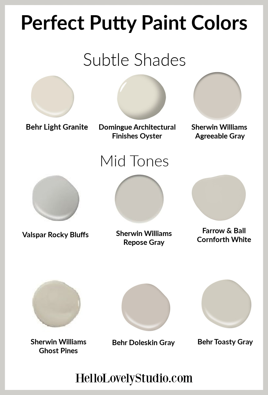 Perfect putty paint colors - Hello Lovely Studio. #paintcolors #puttypaints #mushroom #interiordesign #neutralpaintcolors