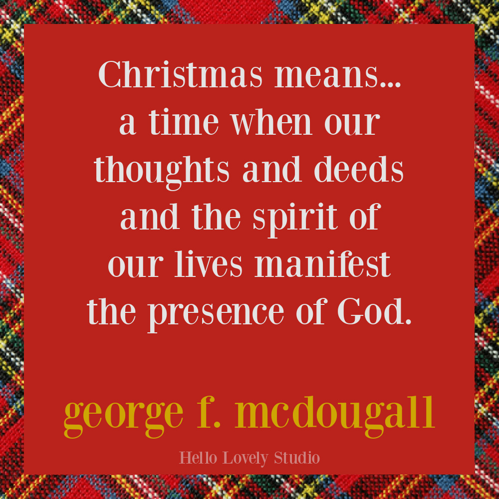 Christmas quote for the holidays with plaid background. #quotes #christmas #holidayquote