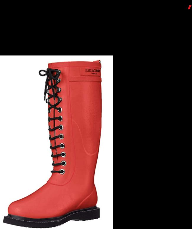 Red Ilse Jacobsen lace up women's boots