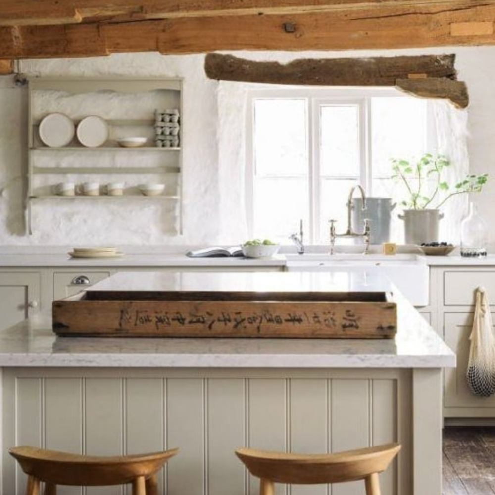 English country bespoke deVOL country kitchen with putty  cabinets, rustic beams, and Old World style. #devol #puttycabinets #englishcountrykitchen