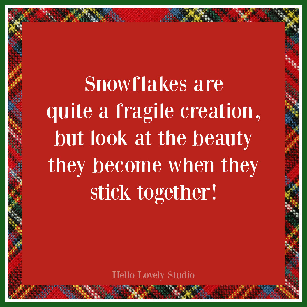 Snowflake quote for Christmas on Hello Lovely Studio. #christmasquotes #snowflakes