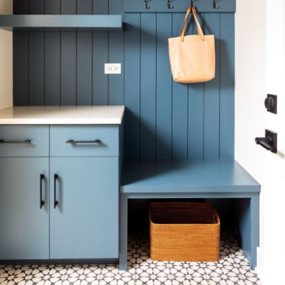 Waterloo (SW) blue paint color with cabinets and beadboard in a mud room - @annabutlerdesigns. #waterloo #bluepaintcolors