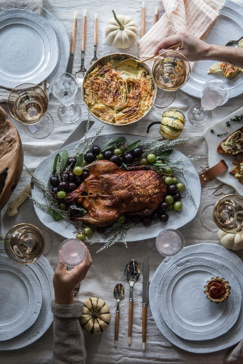 Styled Thanksgiving table with turkey in center and artful design - Beth Kirby of Local Milk Blog. #thanksgiving #tablescapes