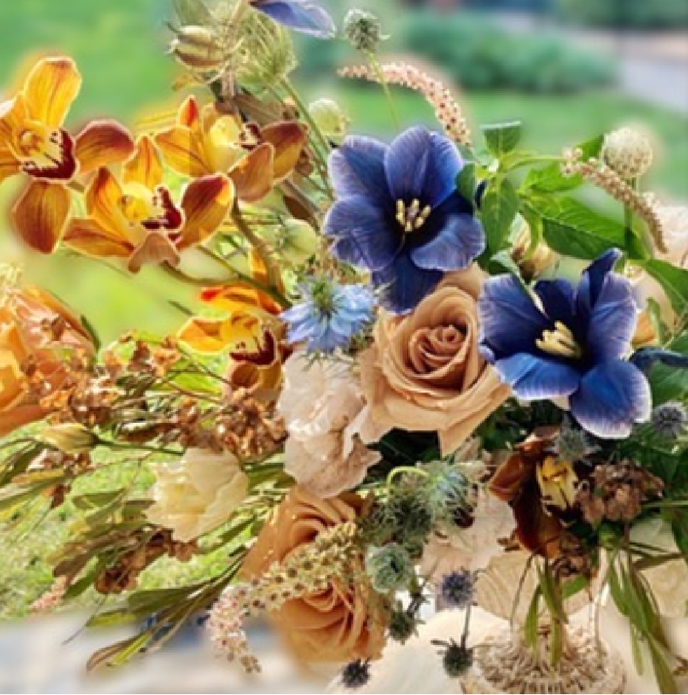 Beautiful fall floral bouquet with blue, golds, and dusty rose - The Flower Theory. #fallbouquet #freshflowers