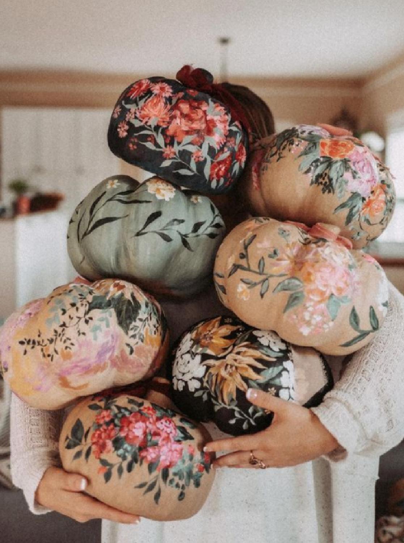 Beautifully handpainted paper mache pumpkins with floral motif - @abbylynneartist #paintedpumpkins