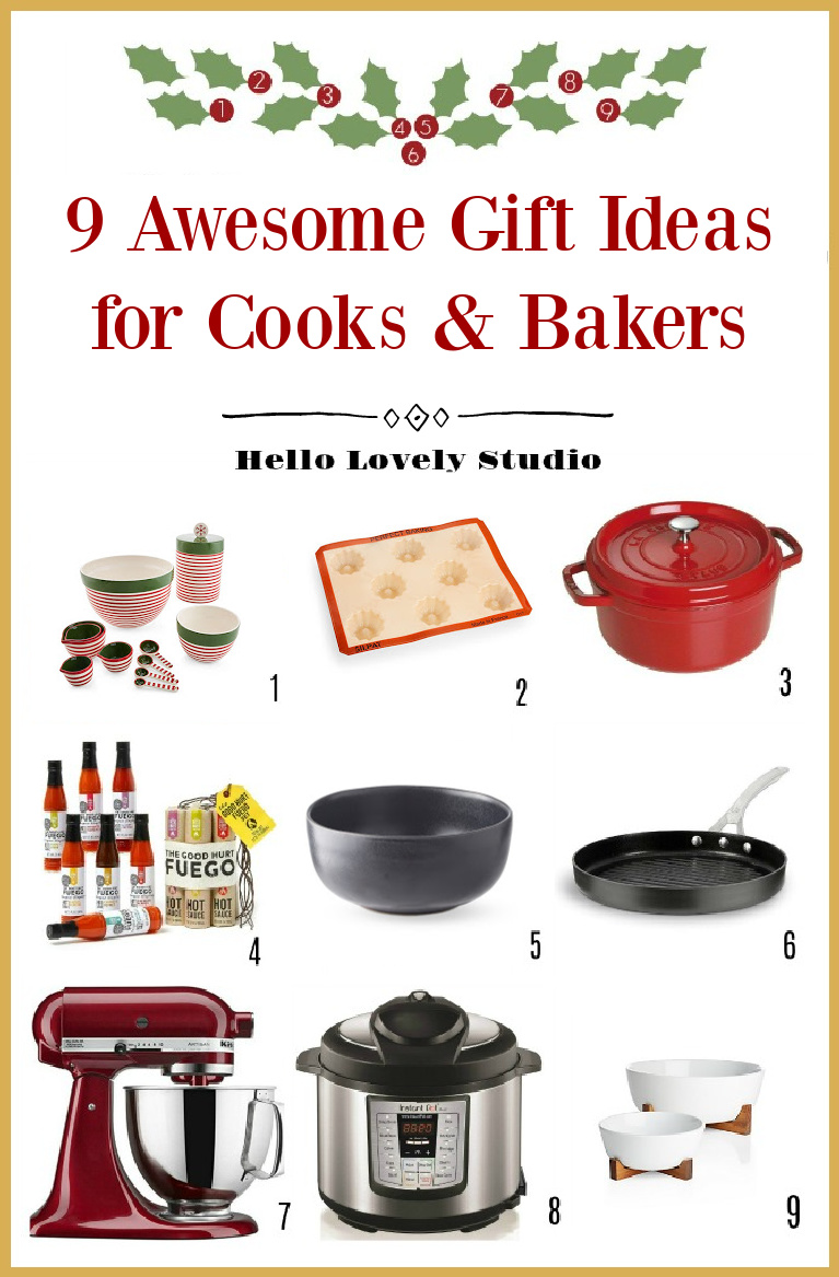 9 Awesome Gift Ideas for Cooks & Bakers on Hello Lovely Studio. #giftideas #giftguide #holidaygifts #kitchengifts #giftsforcook #giftsforbakers #chritmasgifts