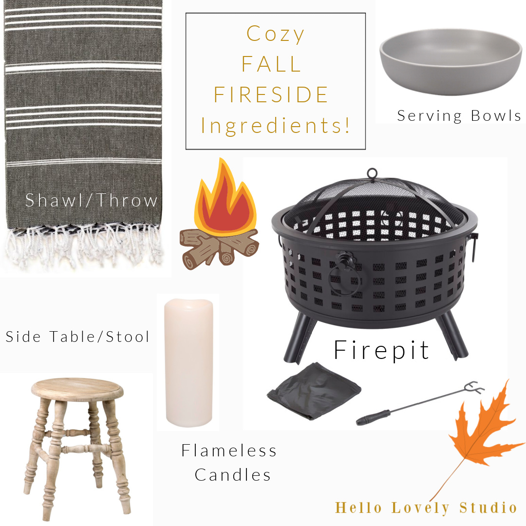 Cozy Fall Fireside Ingredients including firepits and casual farmhouse style decor to warm your patio or deck in autumn - Hello Lovely Studio. #homedecor #falldecor #firepits #cozyfall