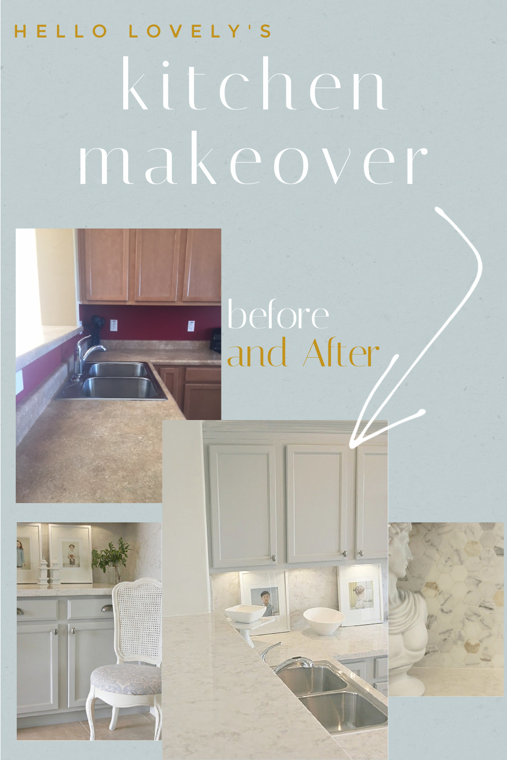 Hello Lovely's Kitchen Makeover before and after - Hello Lovely Studio. #beforeandafter #kitchendesign #diykitchenreno #renovations #kitchenmakeovers
