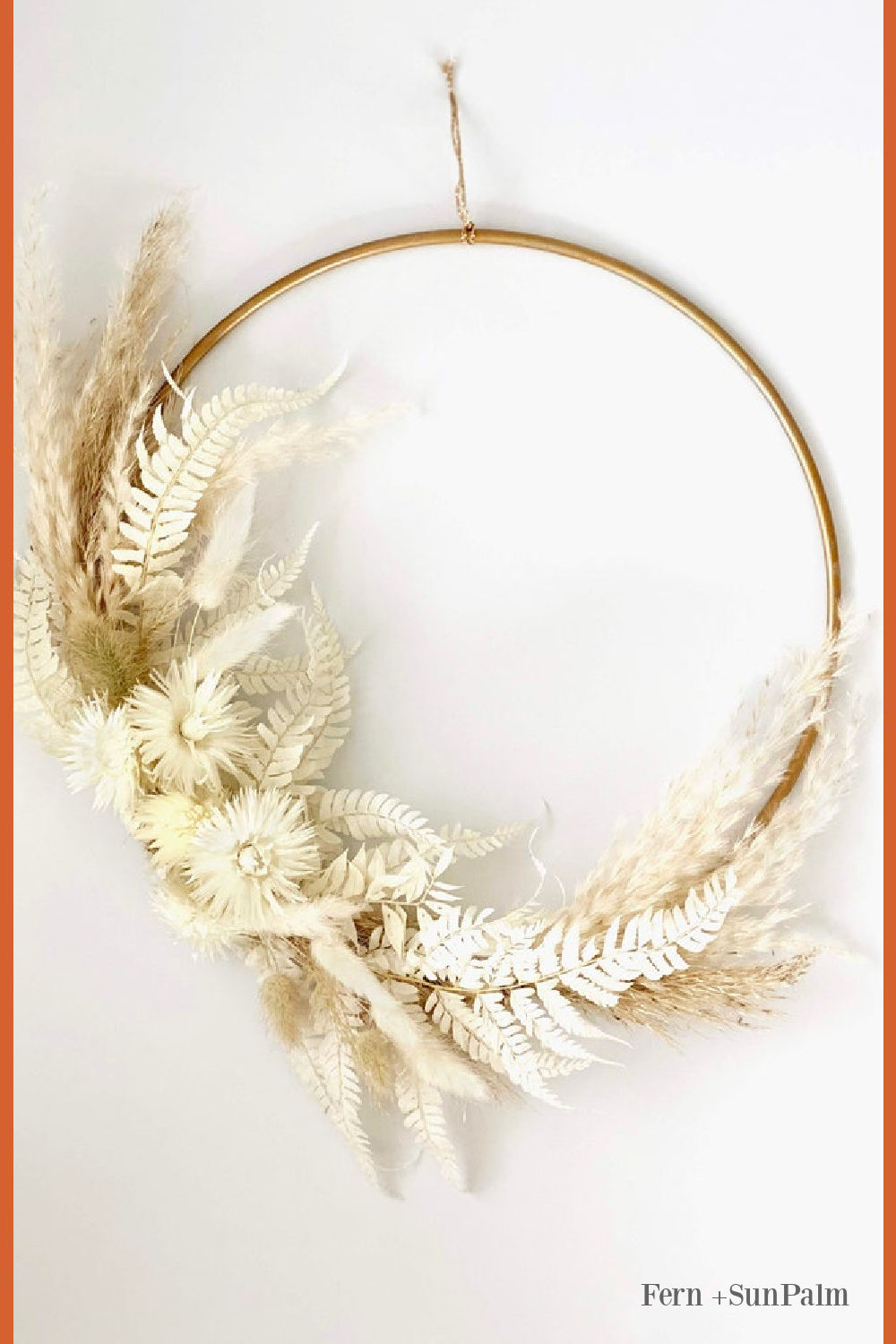 Fall Pampas Grass Wreath with everlasting dried blooms - Fern and Sun Palm. #fallfloral #fallwreath