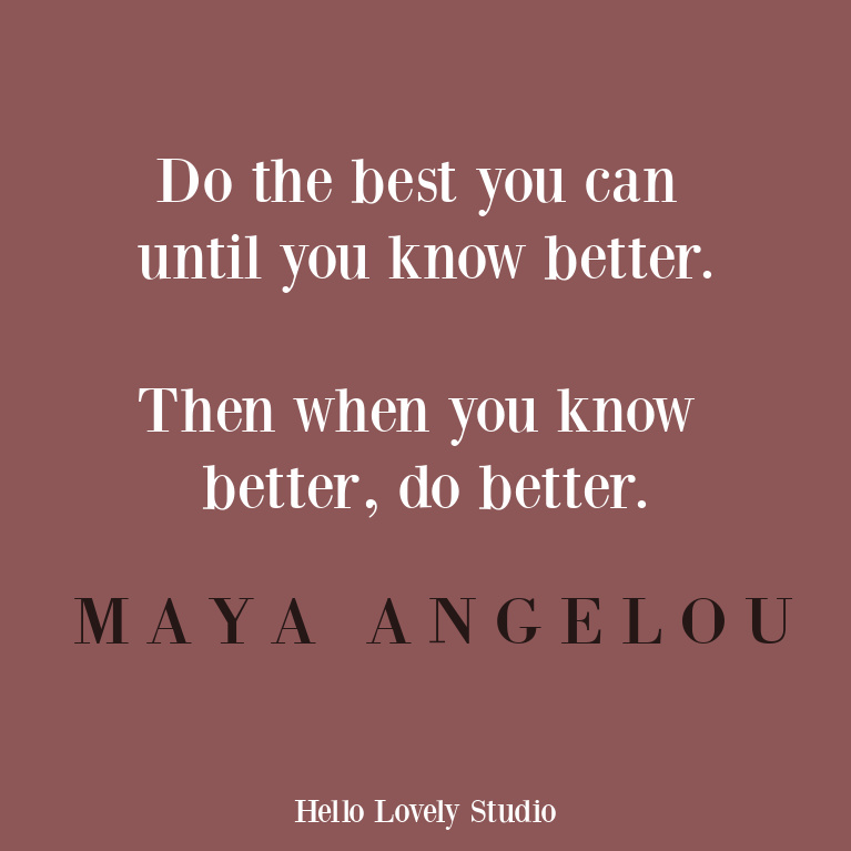 Maya Angelou inspirational quote - do the best you can - on Hello Lovely Studio. #personalgrowth #quotes #mayaangelou #inspirationalquote