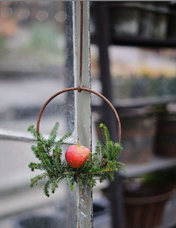 Simple Swedish Christmas hoop wreath with fresh greenery and apple - Jultiderna. #swedishchristmas #scandichristmas ##christmasdecor #farmhousechristmas