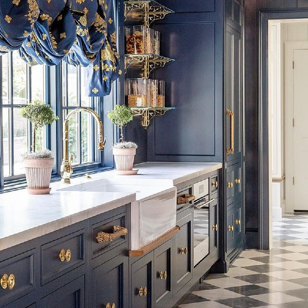 Timeless, tranquil, bespoke traditional style kitchen by The Fox Group. #timelessdesign #kitchendesign #bespokekitchens #bluekitchen