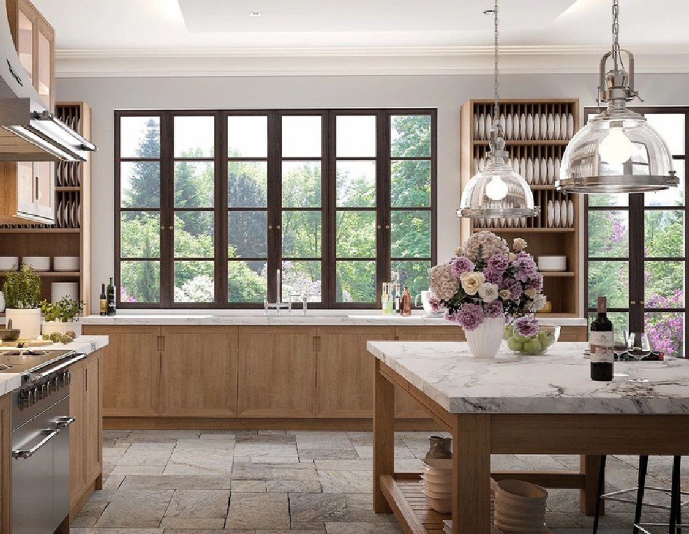 Elegant Modern French country kitchen with bespoke design by L'Atelier Paris. #modernfrench #frenchkitchen #bespoke #kitchendesign