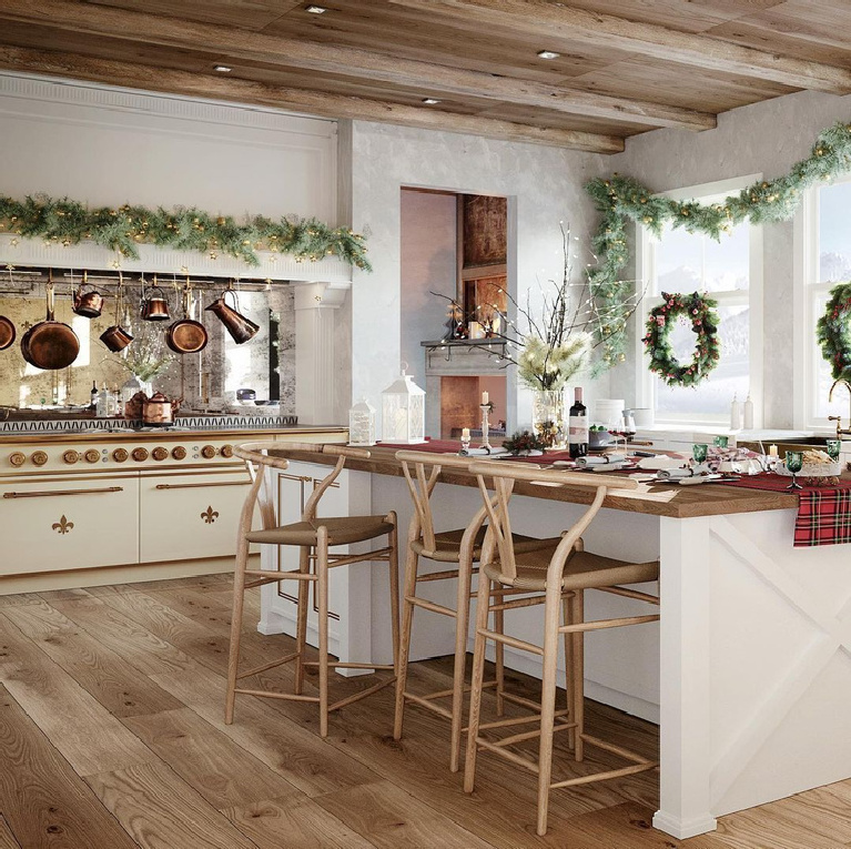 Christmas decorated luxurious French kitchen with bespoke range and cabinets - L'Atelier Paris. #frenchkitchen #christmaskitchen #dreamkitchen #bespoke