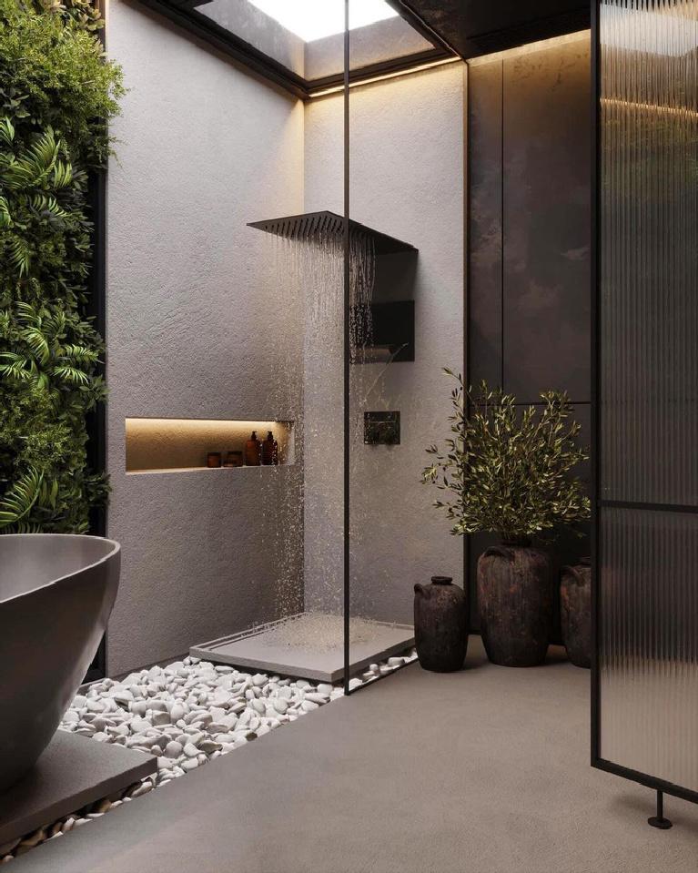 Gorgeous and luxurious zen bath with black hardware and minimal design - Kireevaanna.