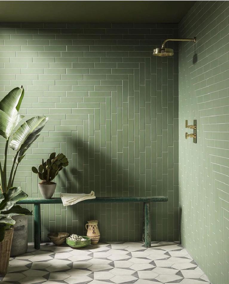 Serene and luxurious zen shower with green tile walls - MandarainStoneOfficial.