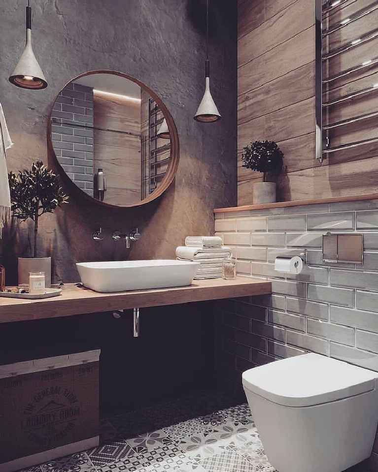 Modern rustic farmhouse bathroom with vessel sink, round mirror, and minimal toilet - Zenqhome.