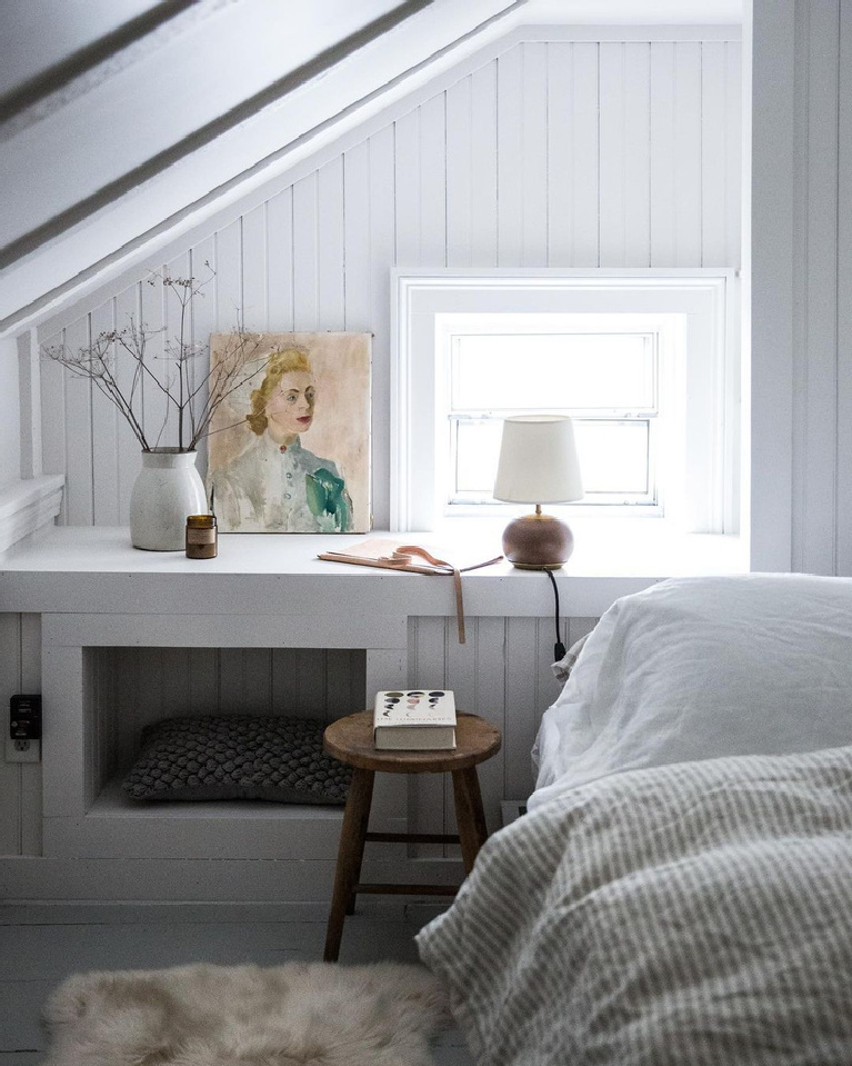 Cozy zen bedroom with white, tone on tone, beadboard, and modern minimal slow living style - JerseyIceCreamCo and BethKirby.