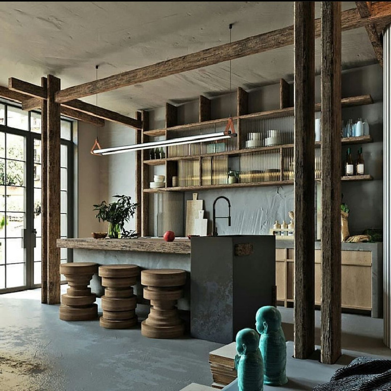 Rustic zen kitchen with Asian influences and breathtaking architectural features and design - @chidemane_khane.