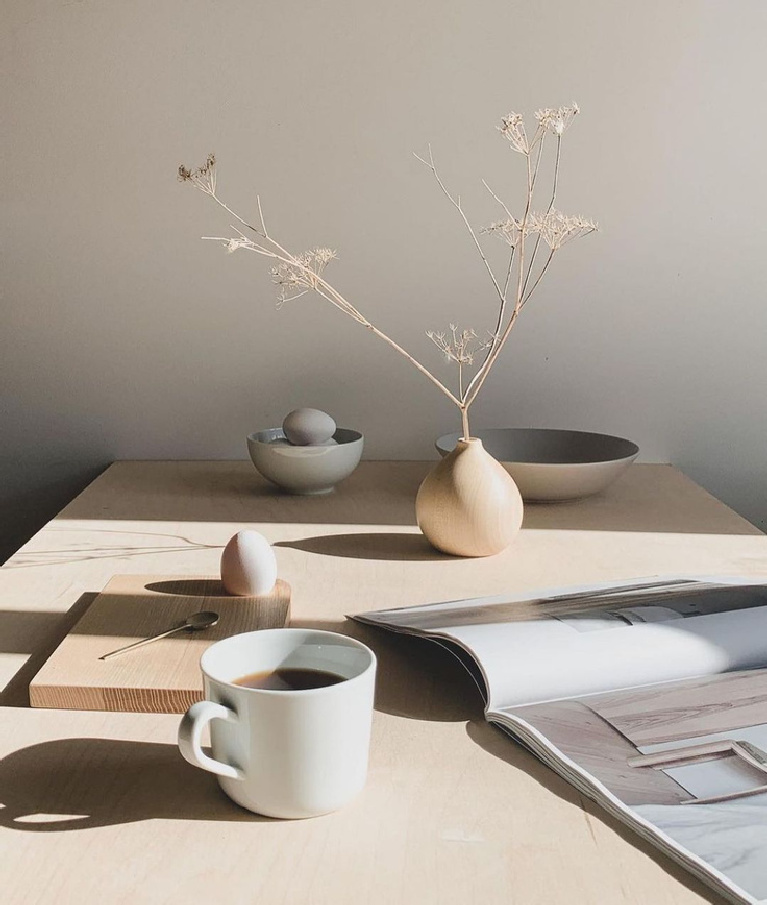 Serene and modern slow living minimal tablescape with ceramics and simple vase - Shop.Vanillabean.