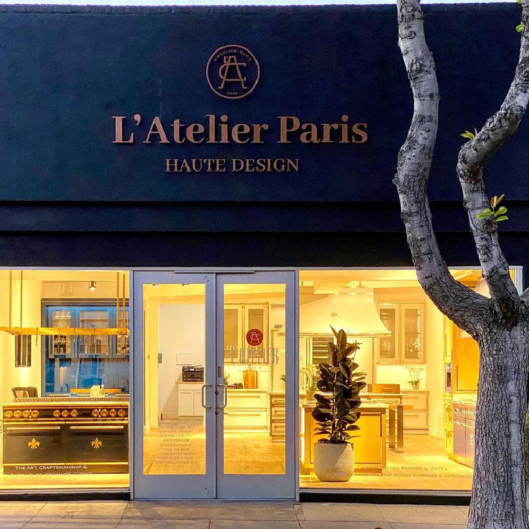 Exterior storefront of L'Atelier Paris showroom in West Hollywood.