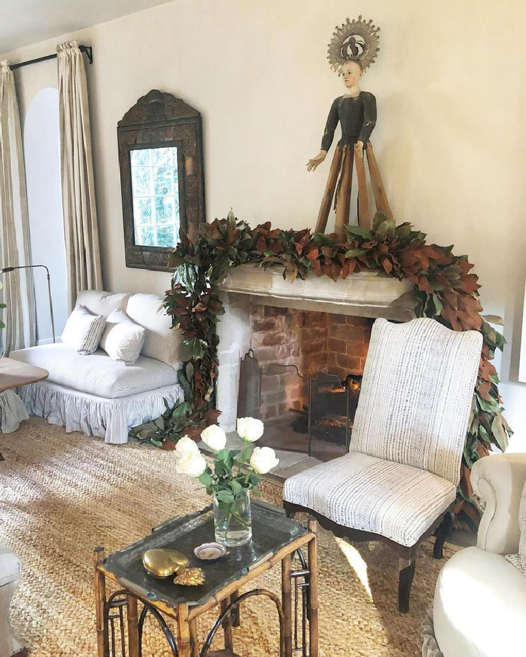 French country Christmas decor in an elegant Houston living room - Pamela Pierce for Milieu.
