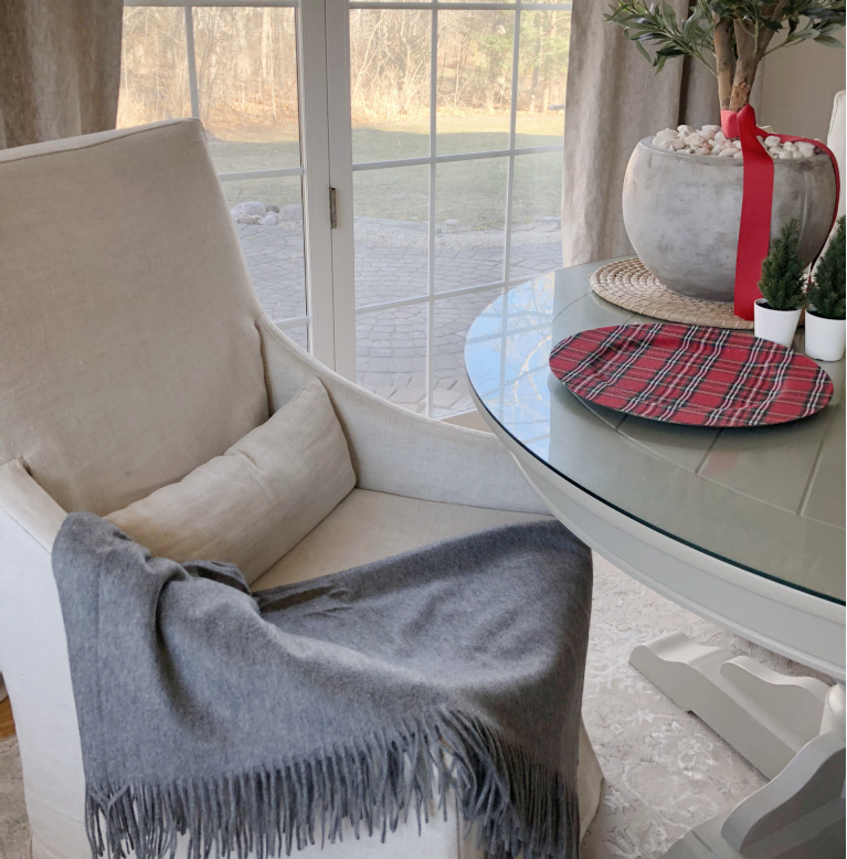 Luxurious, comfy and sophisticated this cashmere throw (Italic) is stylish in heather gray against the Belgian linen upholstered arm chair - Hello Lovely Studio. #cashmere #cashmerethrow