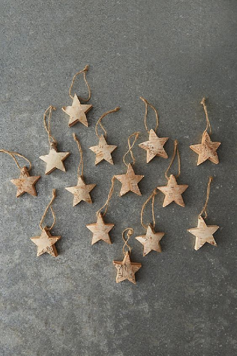 Scandi Christmas decor - birch star ornaments from Anthropologie.